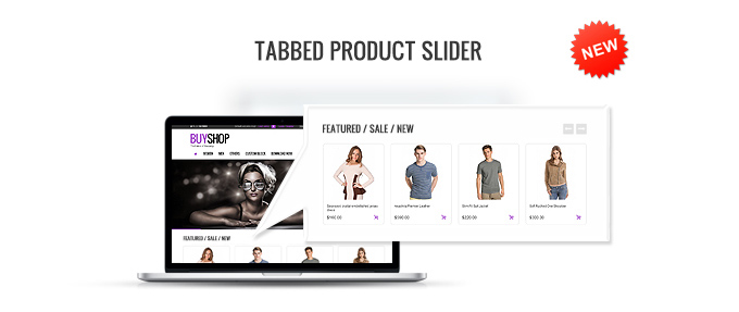 Tabbed product slider presence