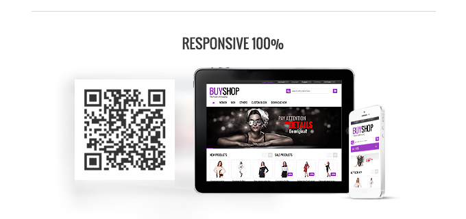 Image showing that Buyshop Woocommerce is Responsive 100% web theme