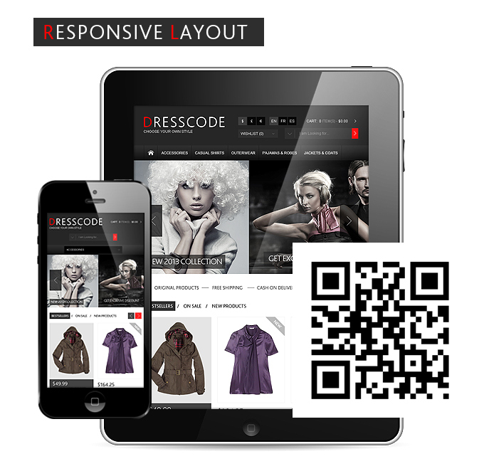 Dresscode magento theme has responsive layout