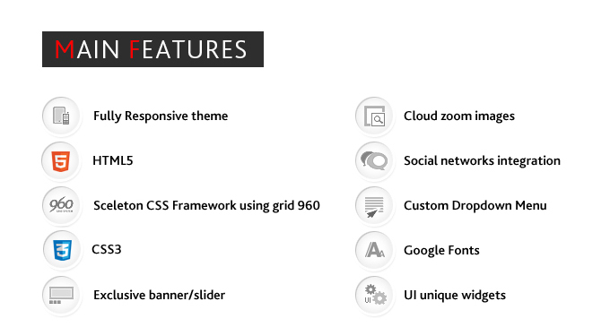 Main features list of Dresscode oscommerce theme