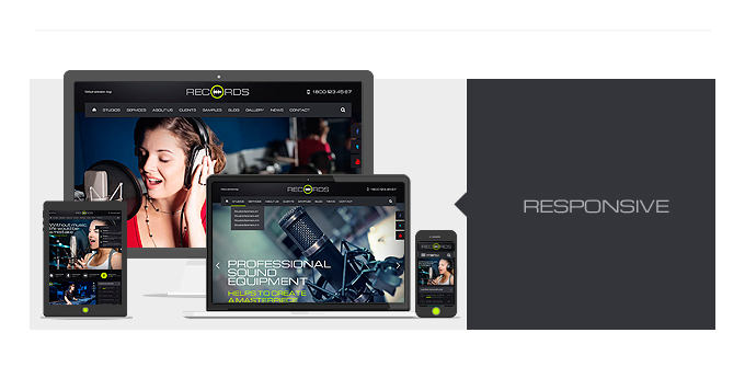 The Records theme is responsive